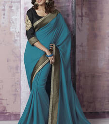 Buy Blue Embroidered Dhupion saree with blouse heavy-work-saree online