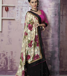 Buy Black and Beige Embroidered Georgette and Brasso saree with blouse heavy-work-saree online