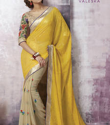 Buy Yellow and Beige Embroidered Chiffon saree with blouse heavy-work-saree online
