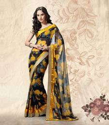 Buy Black Lace border work Georgette saree with blouse party-wear-saree online