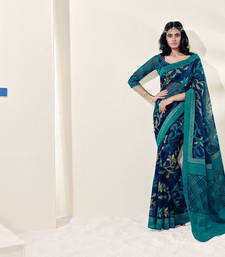 Buy Blue Bordered Saree Brasso saree with blouse brasso-saree online