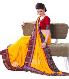 Buy Hypnotex Satin Chiffon Jacquard Yellow Color Designer Saree Gulabi155 satin-saree online