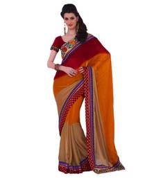 Buy Hypnotex Satin Chiffon Jacquard Maroon, Brown and Cream Color Designer Saree Gulabi162 satin-saree online