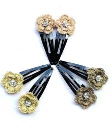 Buy Exclusive: Hair Pins with Zari Crochet Motifs | 3 Pairs | Light Gold, Gold & Copper hair-pin online