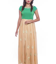 Buy Green and golden georgette anarkali readymade-suit online