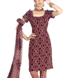 Fabdeal Maroon French Crepe Dress Material shop online