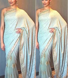 Buy Firozi embroidered georgette saree with blouse deepika-padukone-saree online
