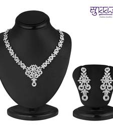 Buy Sukkhi Classy Rhodium plated AD Stone Necklace Set necklace-set online