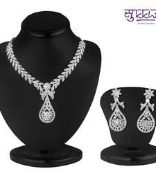 Buy Sukkhi Pleasing Rhodium plated AD Stone Necklace Set necklace-set online