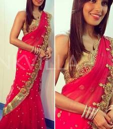Buy Bipasha Basu Red fancy Designer Saree bipasha-basu-saree online