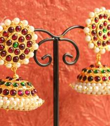Buy BEAUTIFUL PEARL TEMPLE MAROON GREEN JHUMKKA danglers-drop online