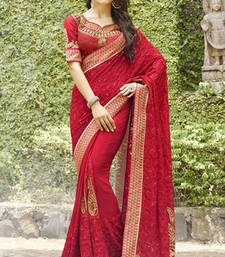Buy Maroon embroidered Georgette Saree wedding-saree online