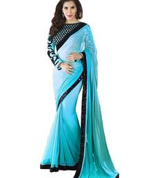 Buy SKY BLUE plain georgette Saree bollywood-saree online