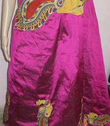Buy Pink hand woven silk kalamkari saree with blouse kalamkari-saree online