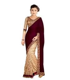 Buy Marron embroidered velvet saree with blouse party-wear-saree online