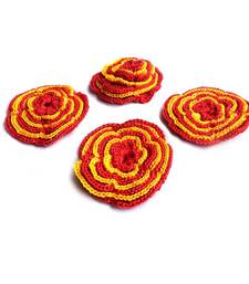 Buy Handmade Crochet Motifs | Set of 10 | Red, Yellow gifts-for-her online