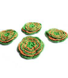 Buy Handmade Crochet Motifs | Set of 10 | Green, Orange gifts-for-her online