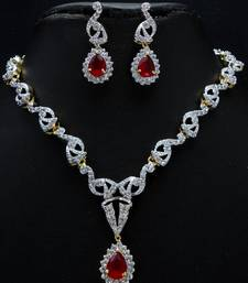 Buy Elegant red stone studded CZ necklace set. Necklace online