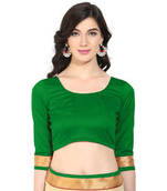 Buy Green solid art silk readymade blouse