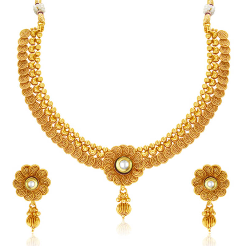 Buy Eye Catchy Jalebi Design Gold Plated Necklace Set For