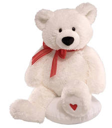 Buy Red Rose Stick n White Teddy Bear Valentine Gift valentine-gift online