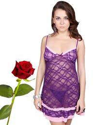 Buy Purple Hot See Thru Net Night Frock Valentine Gift valentine-gift online