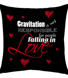 Buy Black Designer Printed Filled Cushion valentine-gift online