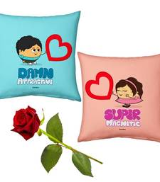Buy Cute Boy n Girl Hearts Cushions Pair n Rose Gift valentine-gift online