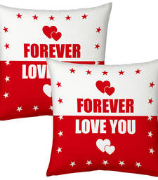 Buy Designer Romantic Print Red Filled Cushions Pair 2 valentine-gift online