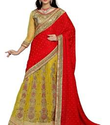 Buy Yellow embroidered net saree with blouse satin-saree online