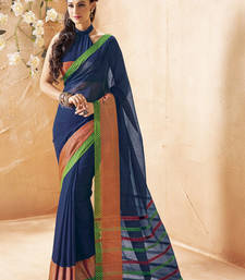 Buy Navy Blue Printed Cotton Saree with Blouse cotton-saree online