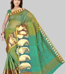 Buy Pavecha's Mangalgiri Chettinad Cotton Sari No 556 Green  DNO 507 cotton-saree online
