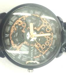 Buy BlackLeatherSkeletonMechanicalFashionLuxuryBlackDialMensWristWatch gifts-for-him online