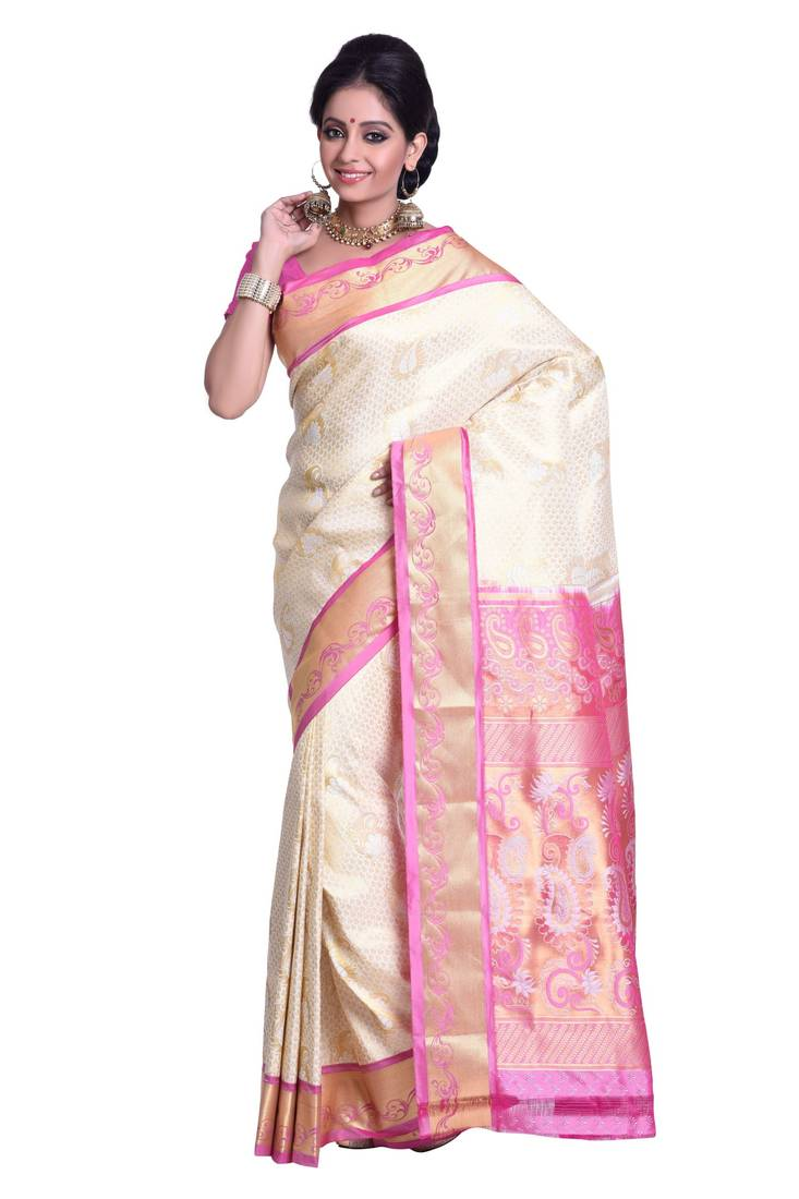 Buy Off White And Pink Woven Art Silk Saree With Blouse Online