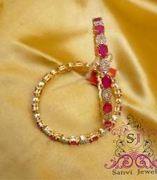 Buy Oval Ruby & A.D Bangle bangles-and-bracelet online