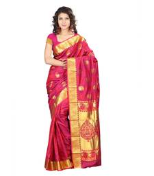 Pink woven art silk saree with blouse shop online