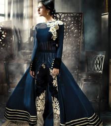 Buy Blue Colored Net Gown Beautiful jacket With Heavy Pant party-wear-gown online