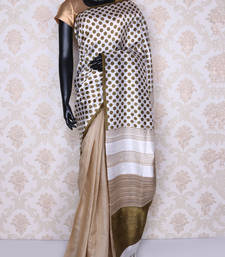 Buy Off white tussar silk saree with blouse tussar-silk-saree online