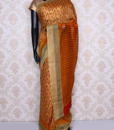 Buy Beige printed faux tussar silk saree with blouse tussar-silk-saree online