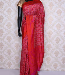 Buy Red printed faux tussar silk saree with blouse tussar-silk-saree online
