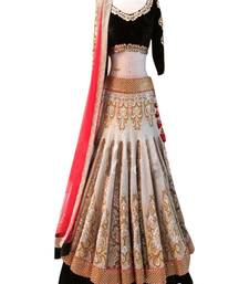 Buy Red and black and white embroidered jacquard and russell net unstitched lehenga choli lehenga-choli online