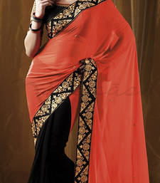 Buy Orange and Black embroidered georgette saree with blouse wedding-saree online
