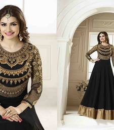 black cotton embroidered semi stitched salwar with dupatta shop online