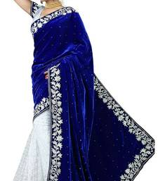 Buy Blue and white embroidered Velvet saree with blouse velvet-saree online
