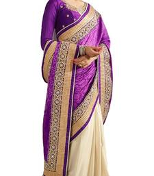 Buy Purple and cream embroidered Velvet saree with blouse velvet-saree online