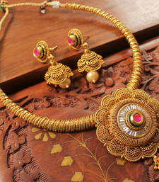 Buy Gorgeous antique designer kundan -ruby  necklace set necklace-set online