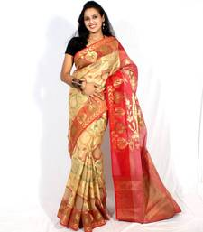 Buy Organza banarasi Tanchooi  zari resham work saree cotton-saree online
