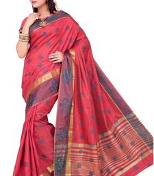 Buy Red plain art silk saree with blouse banarasi-saree online