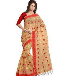 Buy Brown printed tissue saree with blouse tissue-saree online