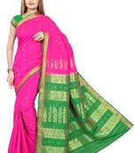Buy Magenta plain art silk saree with blouse